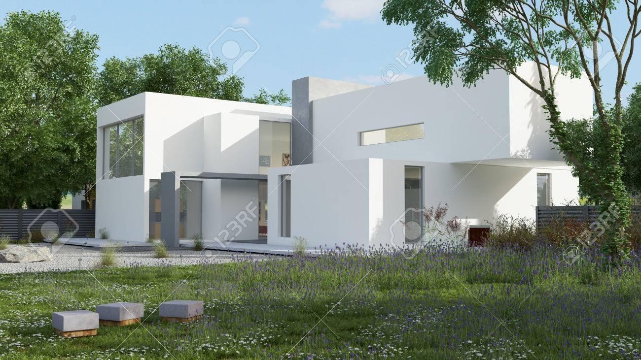Außenansicht Eines Modernen Haus Mit Pool Am Tageslicht ...
