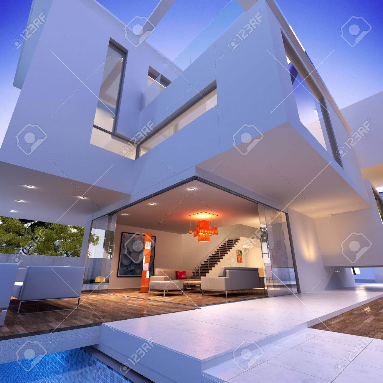 External View Of A Contemporary House With Pool At Dusk Stock Photo ...