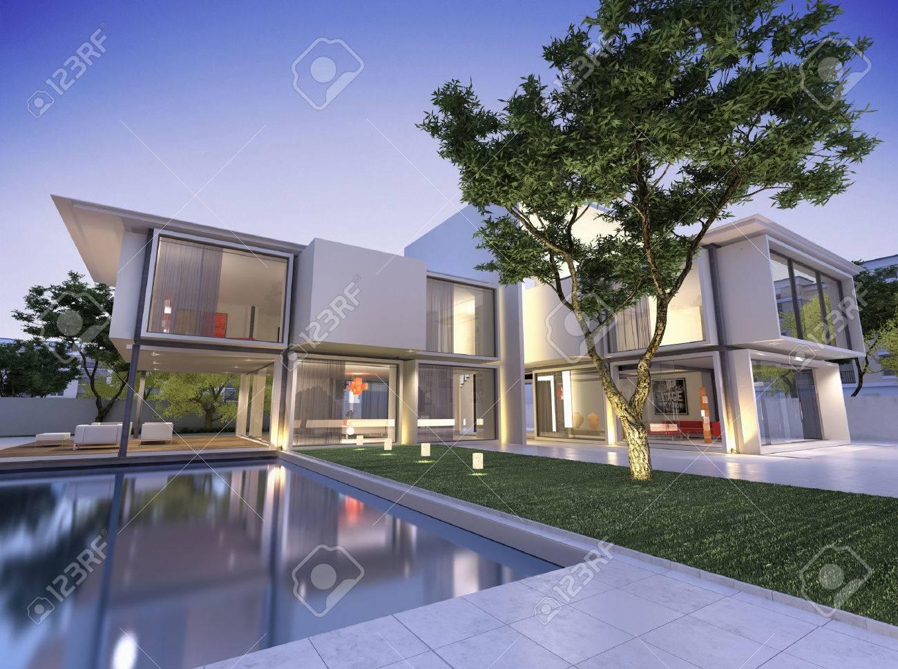 Außenansicht Eines Modernen Haus Mit Pool In Der Abenddämmerung ...