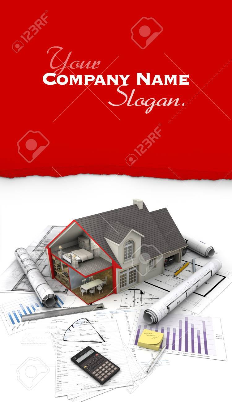 3d rendering of a house blueprint mortgage application form 3d rendering of a house blueprint mortgage application form etc stock photo malvernweather Gallery