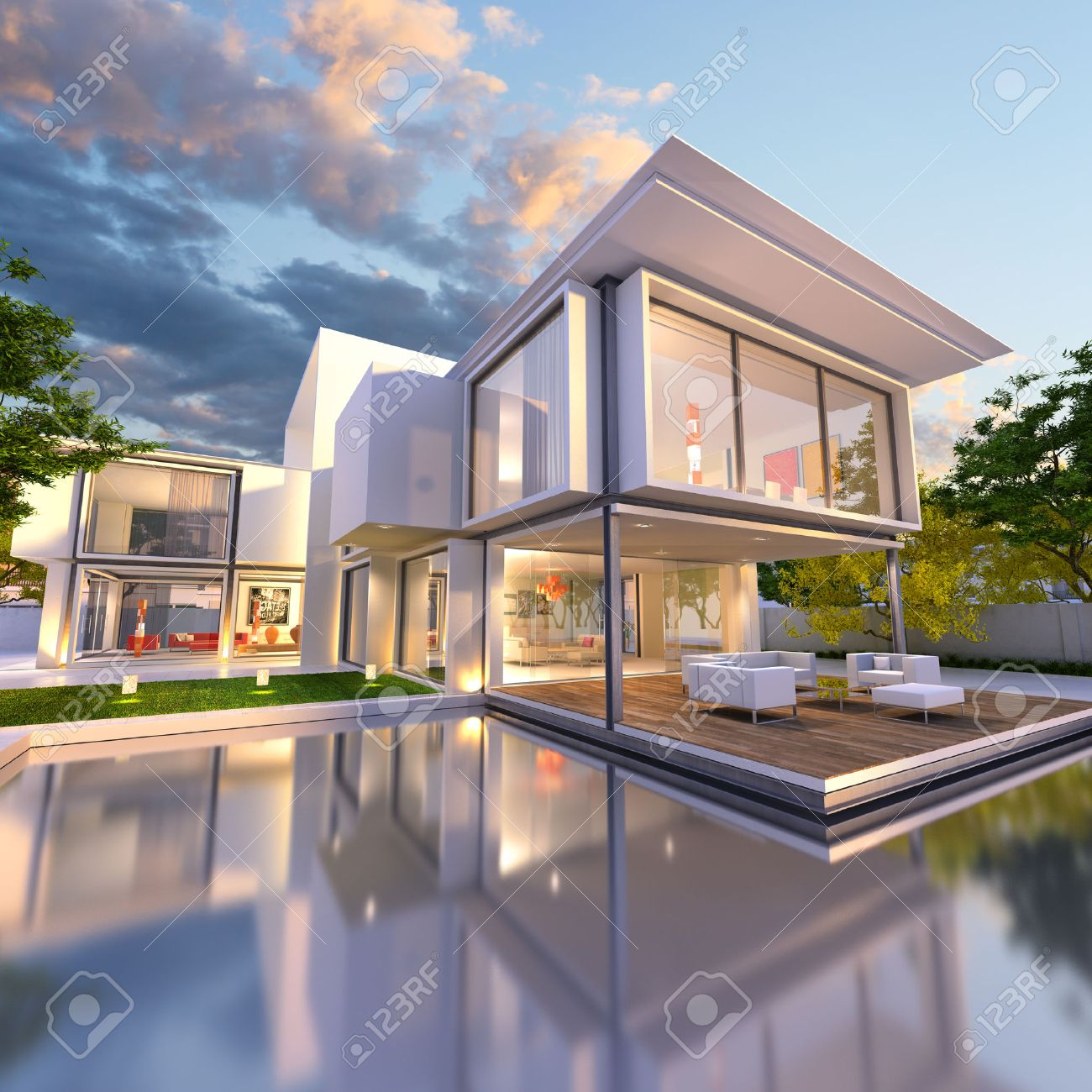 3d Rendering Of Beautiful Modern Villa With Pool Late Afternoon