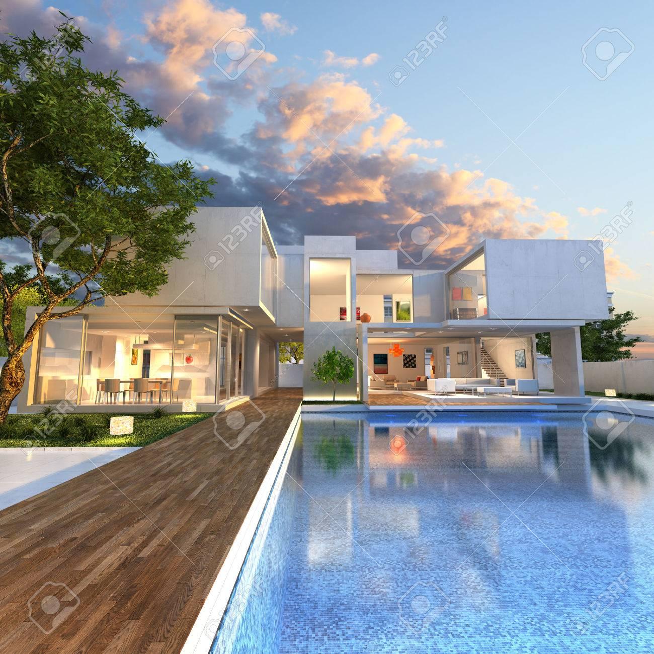 Rendering 3D Di Stupenda Villa Con Piscina, Alla Fine Della ...