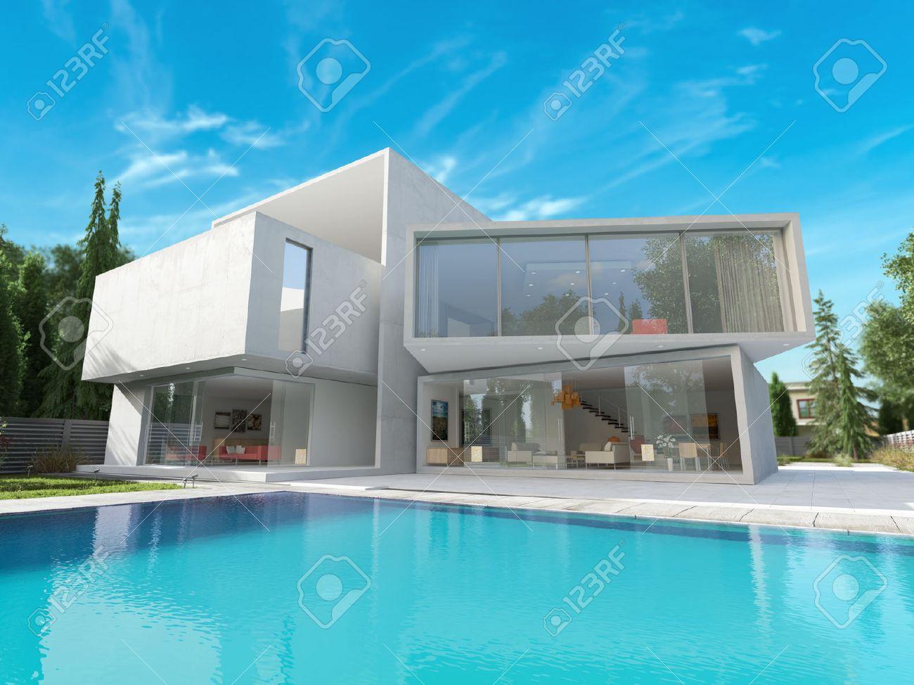 Außenansicht Eines Modernen Haus Mit Pool Lizenzfreie Fotos, Bilder ...