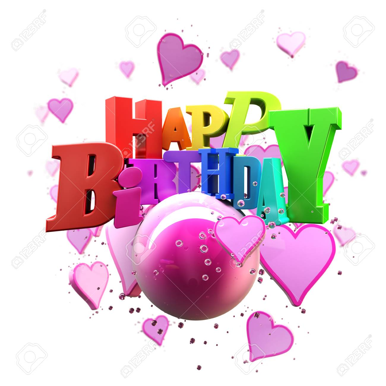 3d Rendering Of A Happy Birthday Greeting Message With Hearts Stock