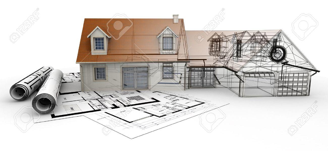 Rendu 3d D Un Projet De Maison En Haut De Plans Montrant Les Differentes Etapes De La Conception Banque D Images Et Photos Libres De Droits Image 39539241