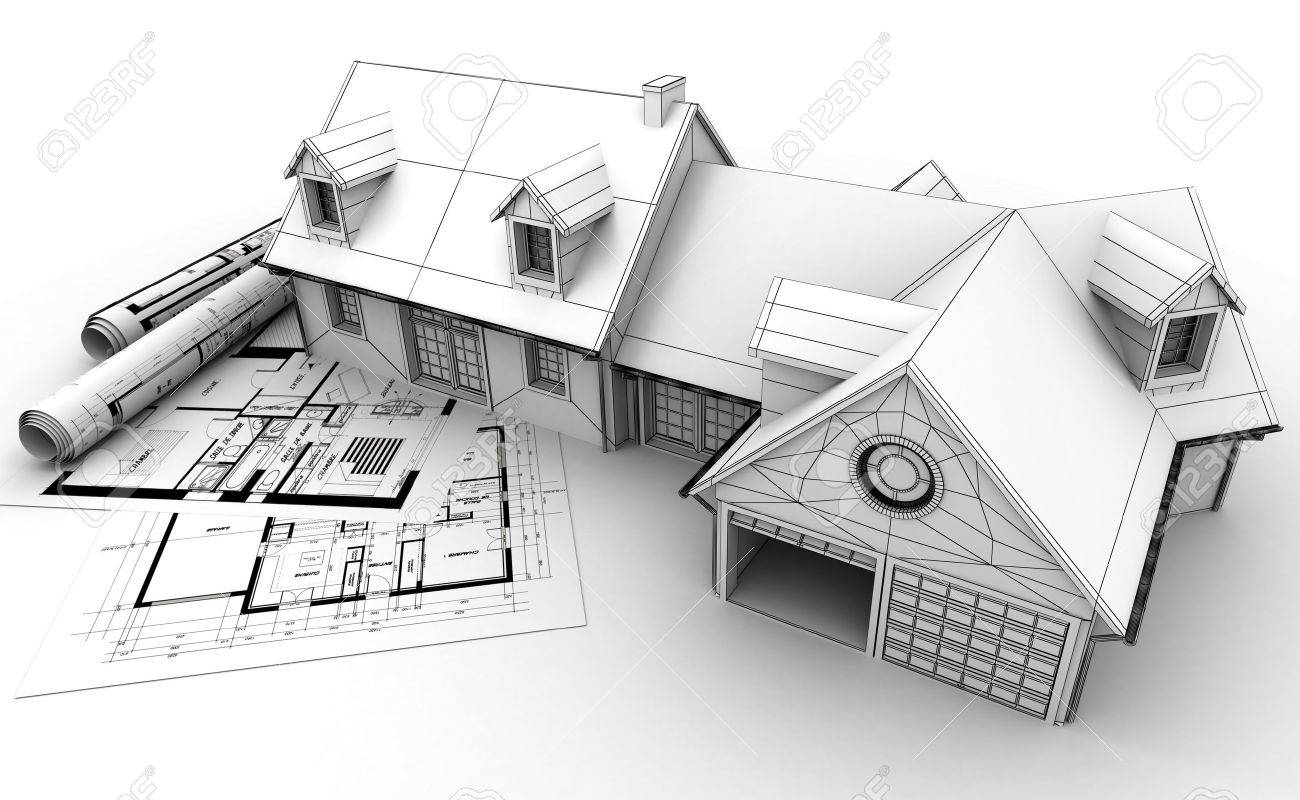 3D Rendering Of A House Project On Top Of Blueprints, Showing ...