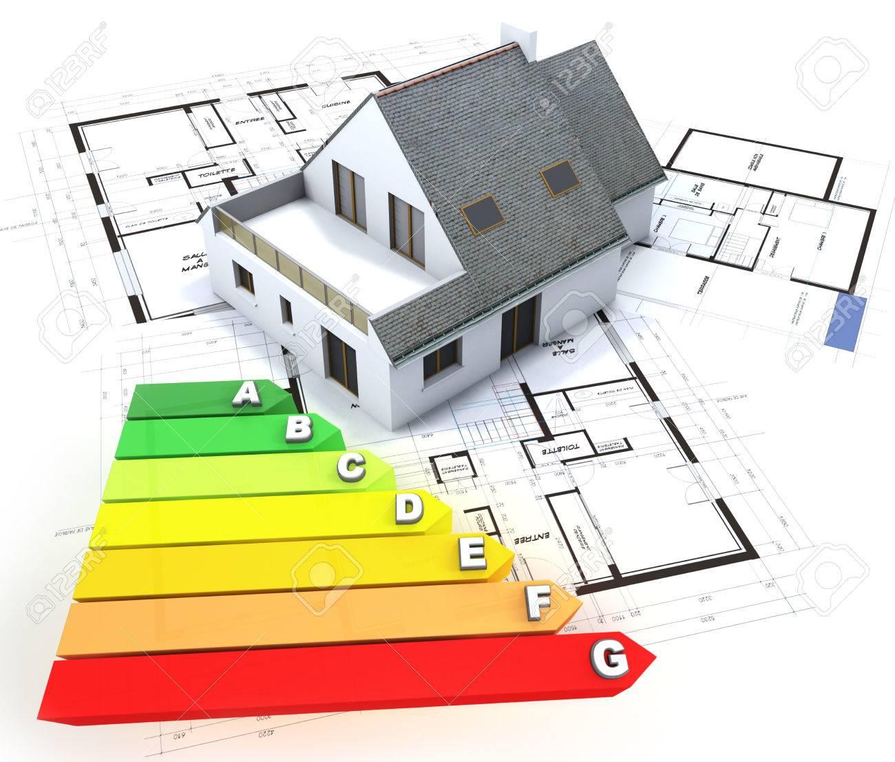 Rendu 3d D Une Maison Au Dessus De Plans Avec Une Cote D Efficacite Energetique Tableau Banque D Images Et Photos Libres De Droits Image 41411233