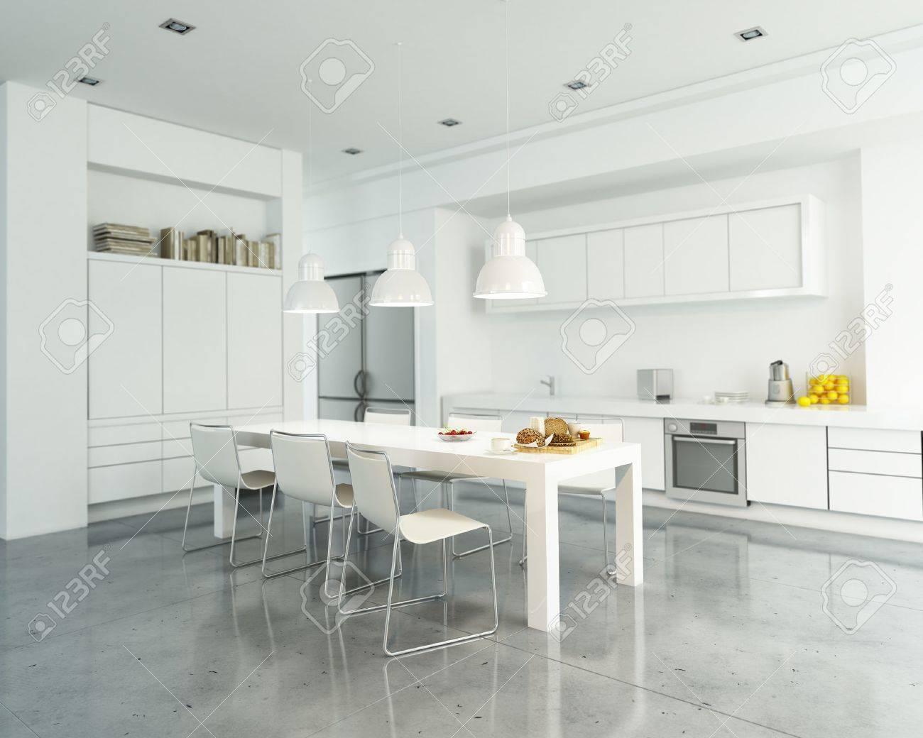 Representacion 3d De Una Cocina Blanca Moderna Y Espaciosa Fotos - Cocina-blanca-moderna