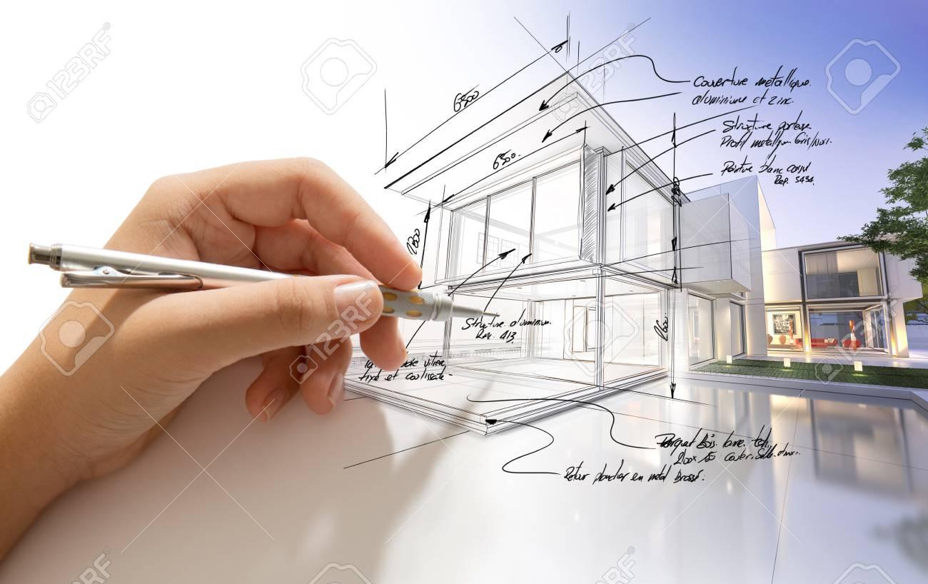 写真素材 , 製図設計のヴィラや現実になって建物の手