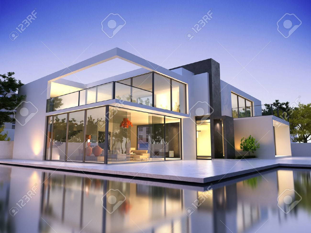 Realistic 3d Rendering Of A Very Modern Upscale House With Swimming