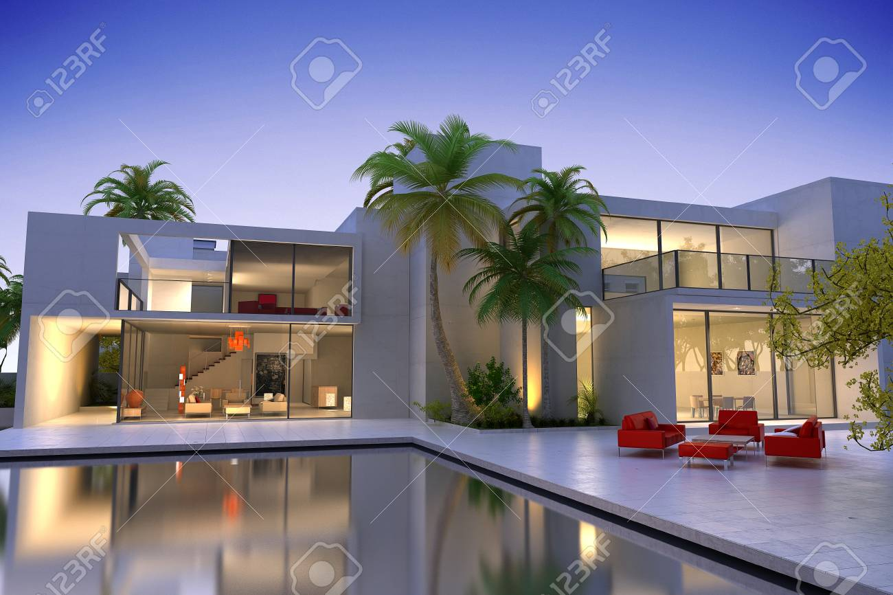 3d Rendering Of A Beautiful Modern Luxurious House With Swimming Stock Photo Picture And Royalty Free Image Image 111755928