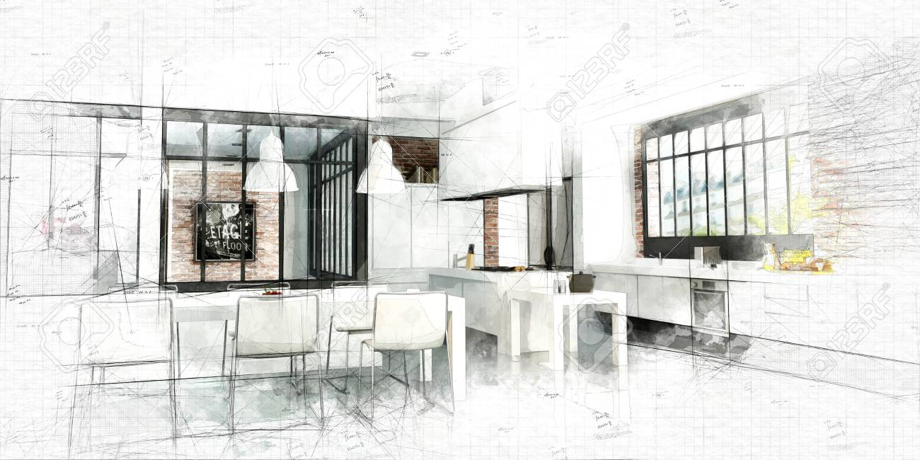 Sketch Of An Artist Loft With A Magnificent Integrated Kitchen Stock Photo Picture And Royalty Free Image Image 111756412