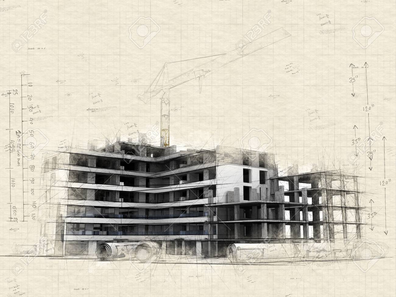 Illustration of Building under construction with crane, on top of blueprints - 111757121
