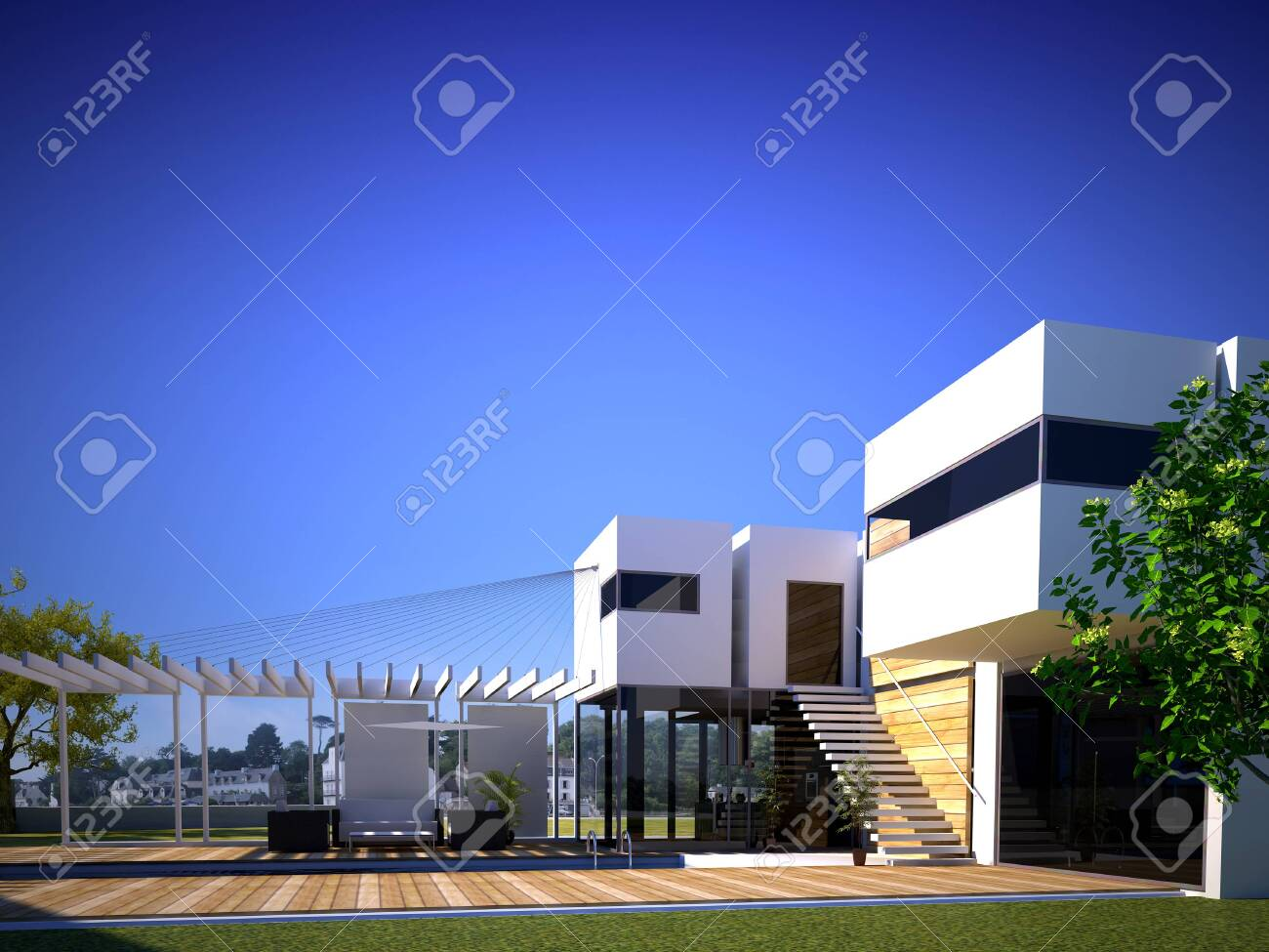 3D rendering of a modern building exterior with pool - 124937564