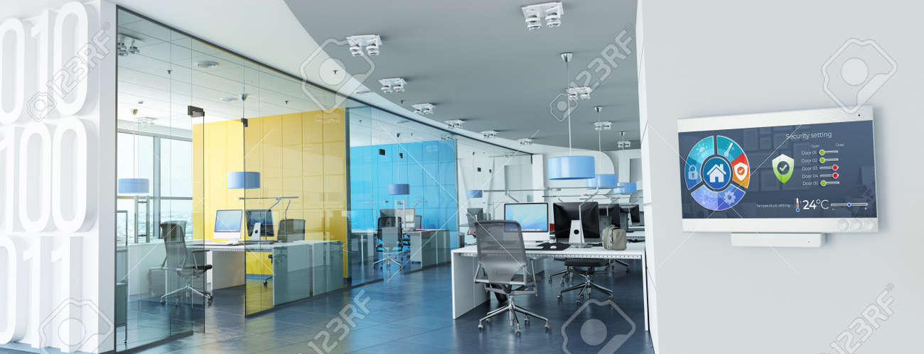 3D rendering of Modern offices with a control panel controlling lighting, temperature, air quality, access and safety - 157047503