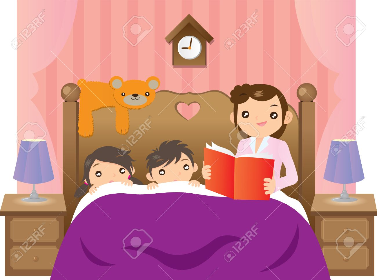 Mother telling story to her 2 kids on bed Stock Vector - 35761620