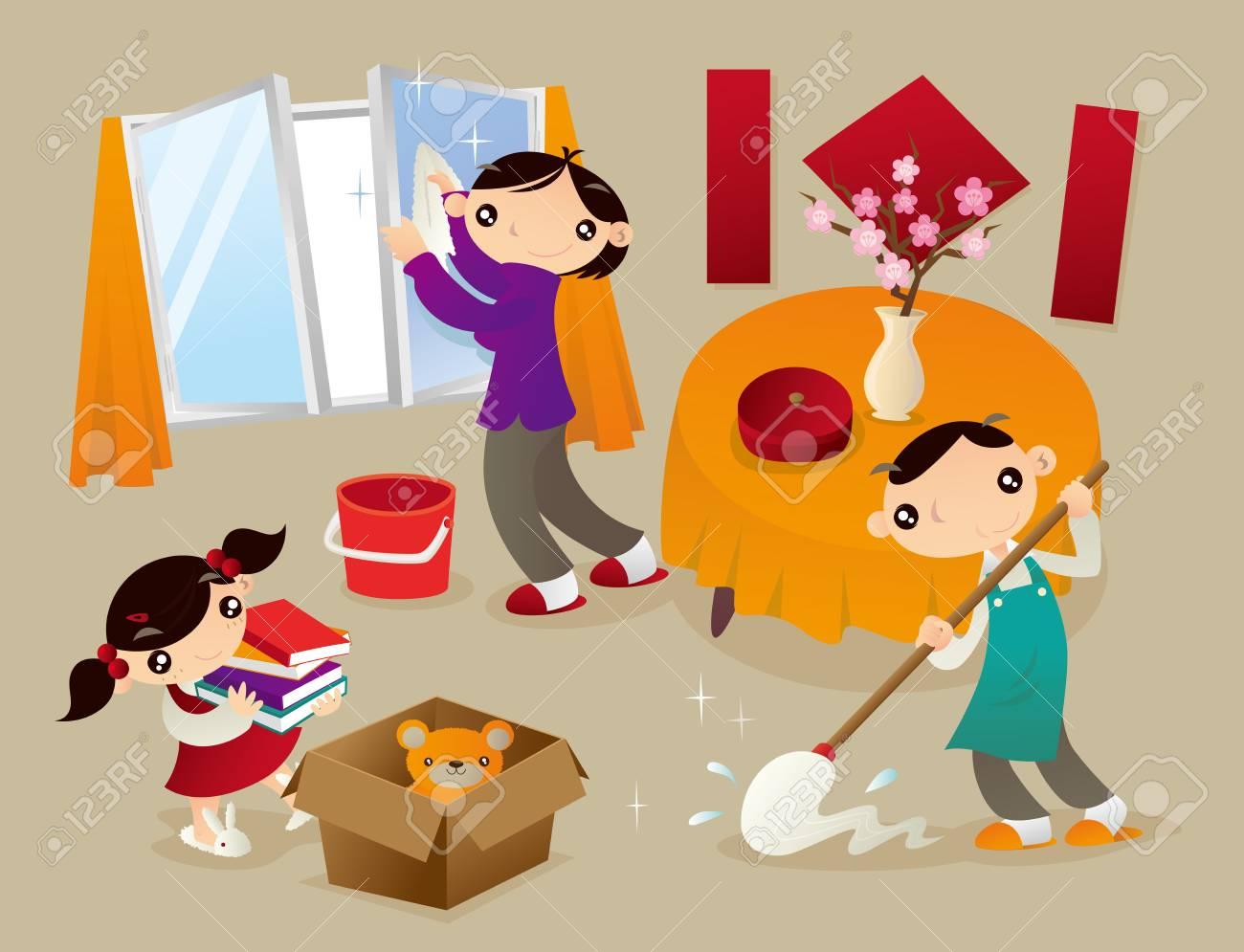Familie Reinigt Ihre Heimat Gründlich Vor Dem Neuen Jahr. Dies Ist ...