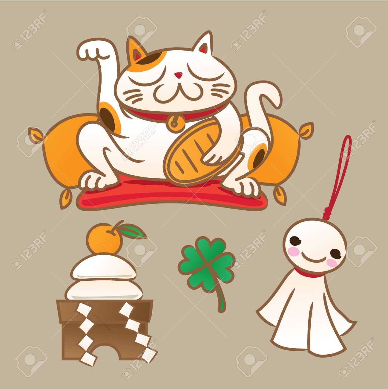 Bring good luck stock photos pictures royalty free bring good japanese lucky symbols beckoning cat new year round rice cake offering sunny buycottarizona