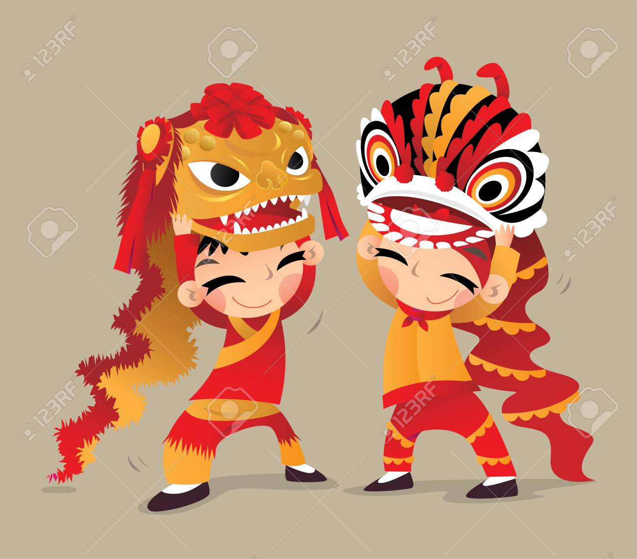 cfb749168 Two Chinese kids playing the Northern and the Southern Lion Dances Stock  Vector - 89981223