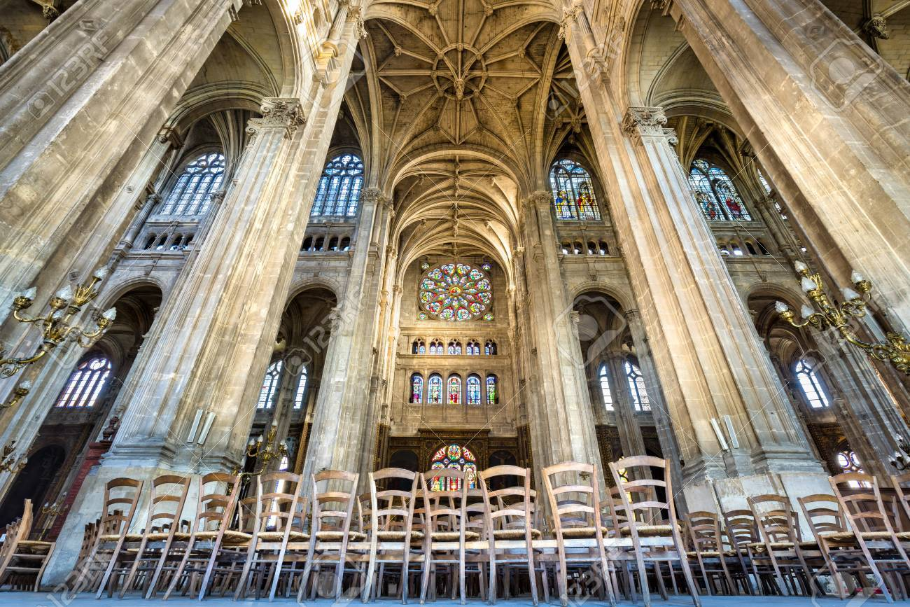 French Gothic Architecture With Vaulted Arches Interior Photo Of The Transept Church Saint Eustache Paris France Rows