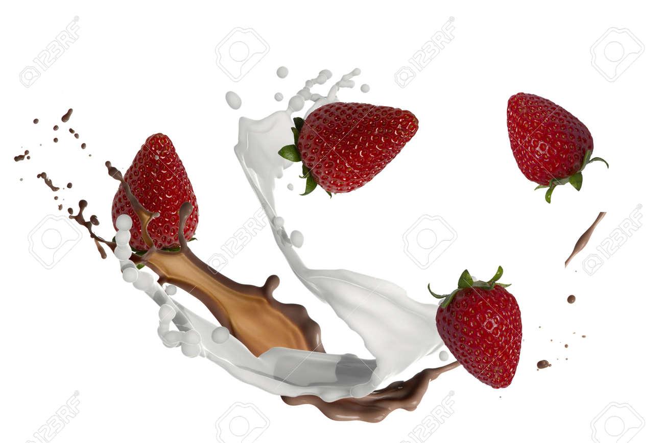 strawberries with milk and chocolate splash - 168513394