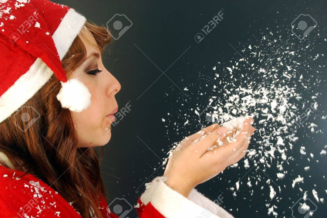 A beautiful Santa in the Snow wish you merry Christmas Stock Photo - 9647141