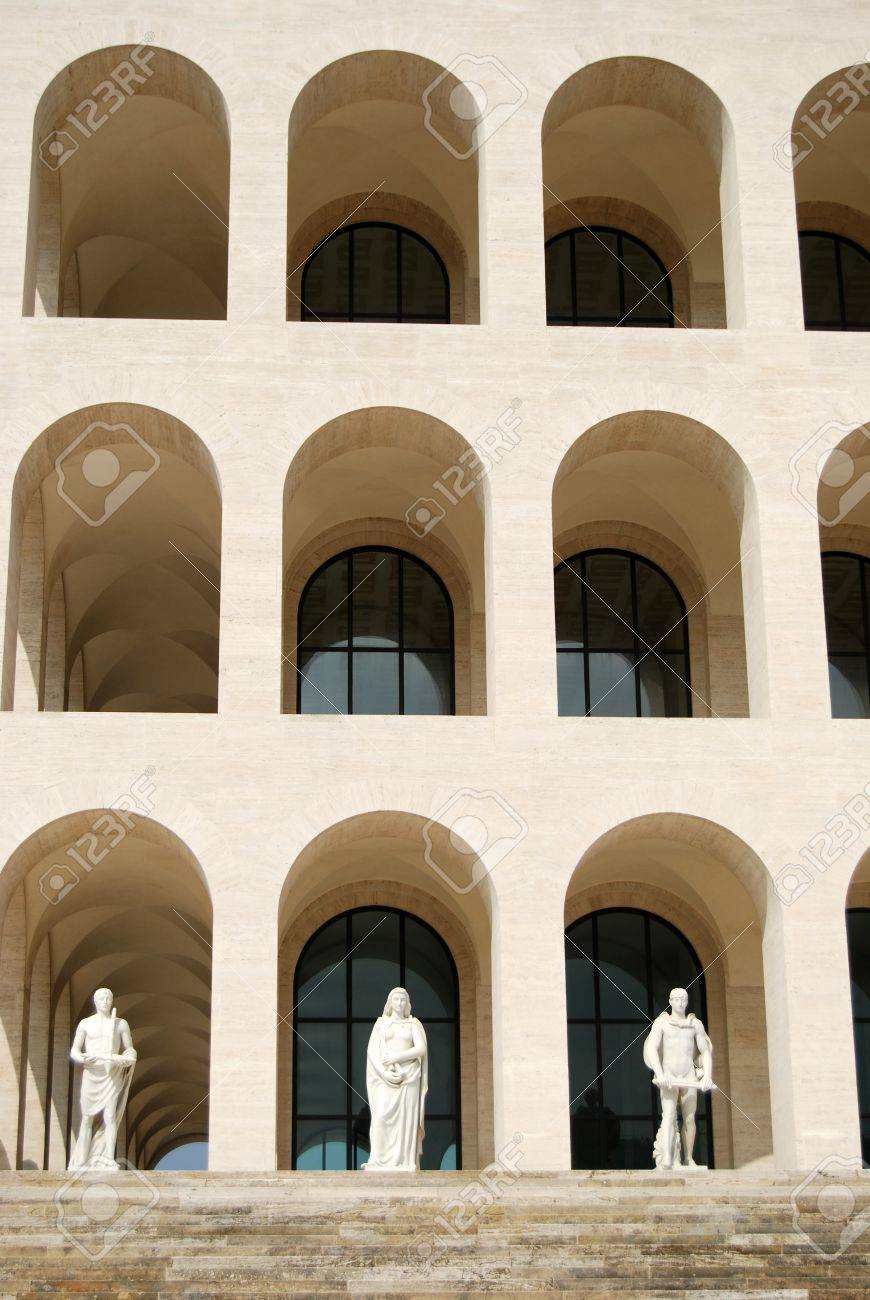 Modern Architecture Rome rome eur palace of civilization 016 - rome - italy - among.. stock