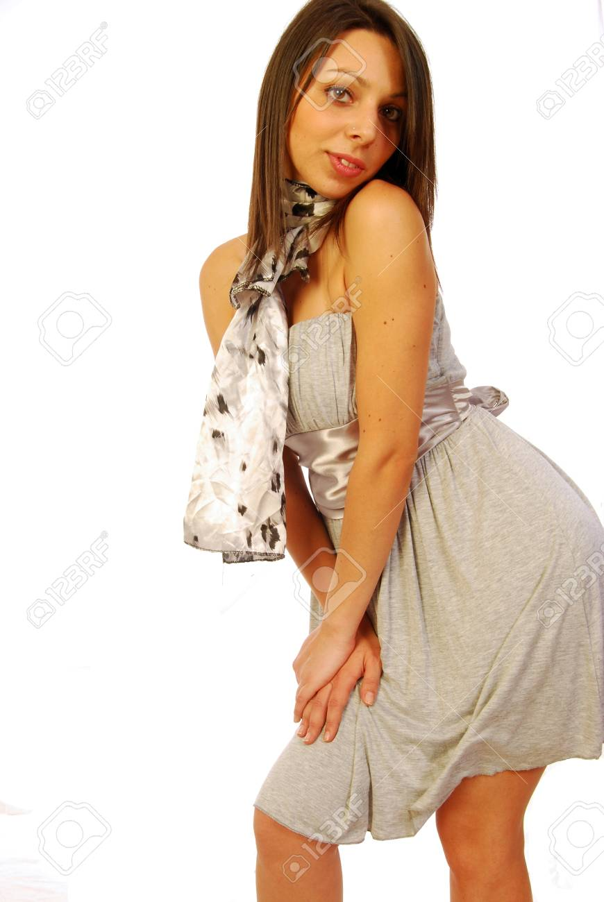 Young brunette woman in elegant gray Stock Photo - 13784775