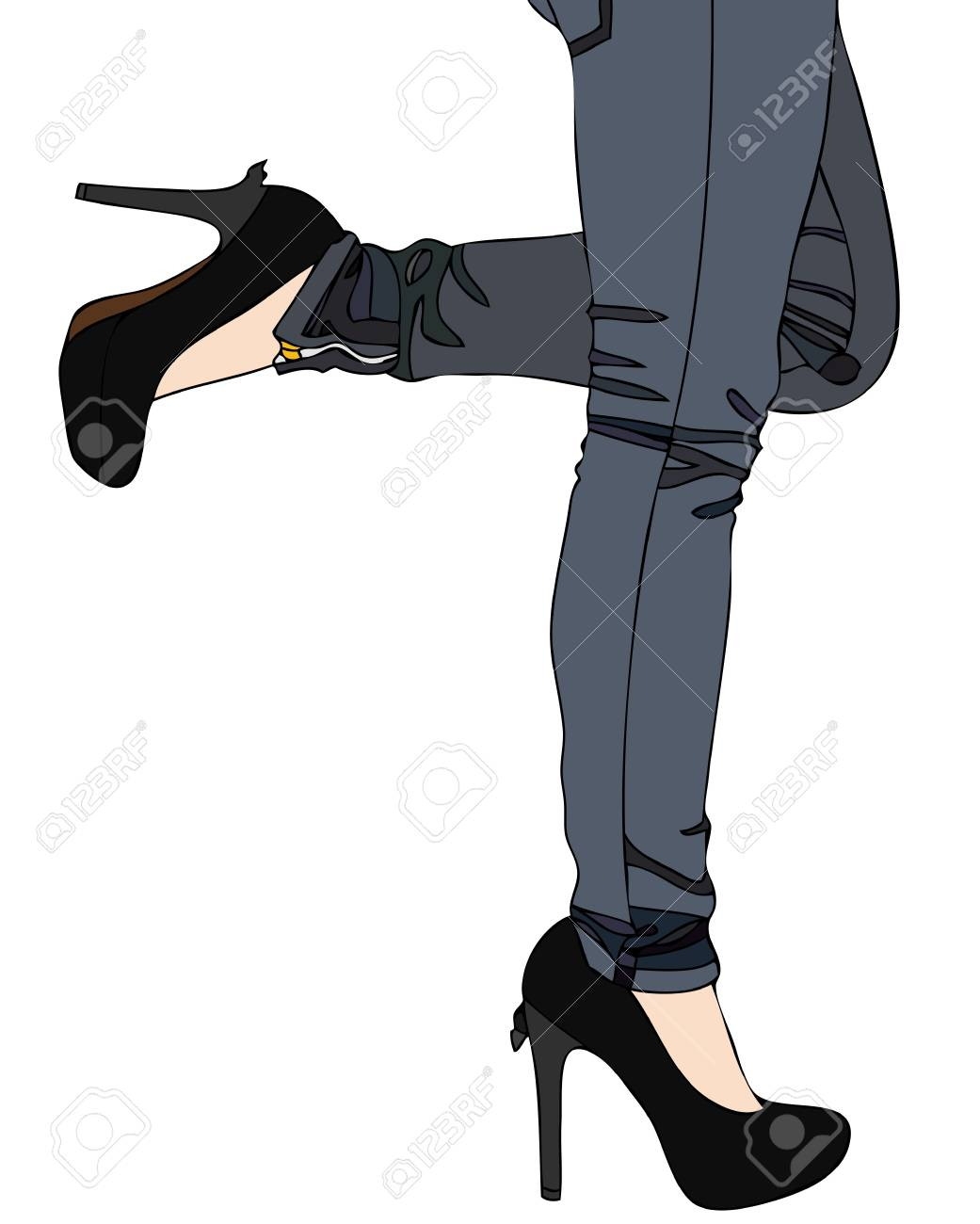 Jeans and Sexy High Heels Stock Photo - 17580895