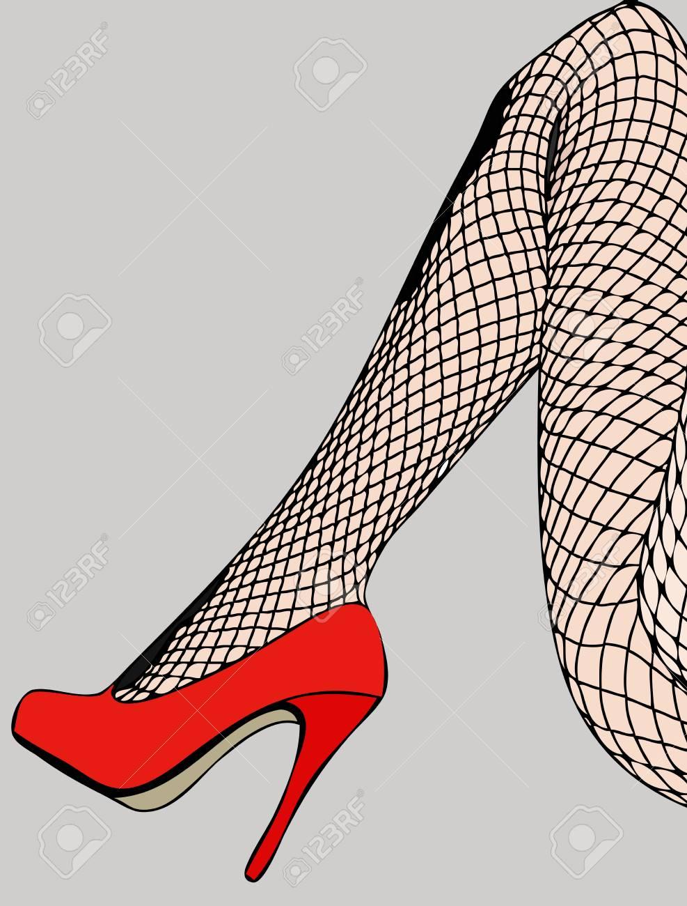 chaussures à d'une en résille l'attitude résille femme bas représentant talons Illustration Bas sensuelle et hauts XOiPukZ