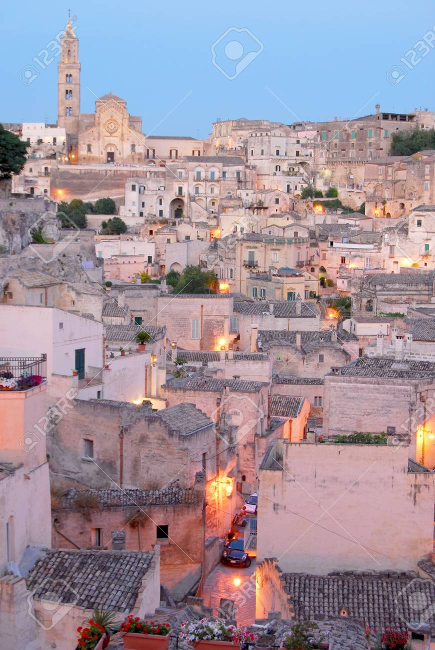 Matera The City Of Sassi At Sunset A Panoramic View Of Matera