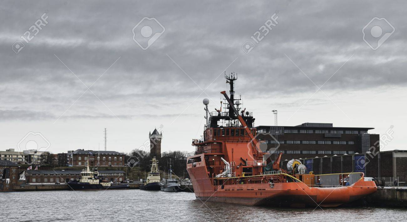 Offshore harbor in Esbjerg, Denmark Stock Photo - 17060668