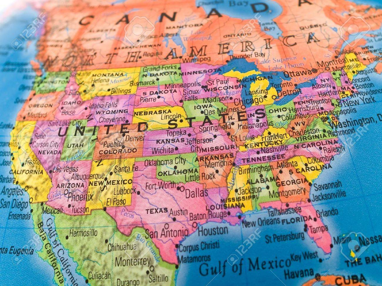 United States Map Closeup On A Globe Stock Photo Picture And New - Usa map states new orleans