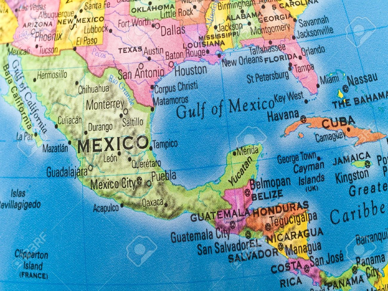 A Macro Closeup Of A Political Globe Focusing On Mexico And - Map of mexico and central america