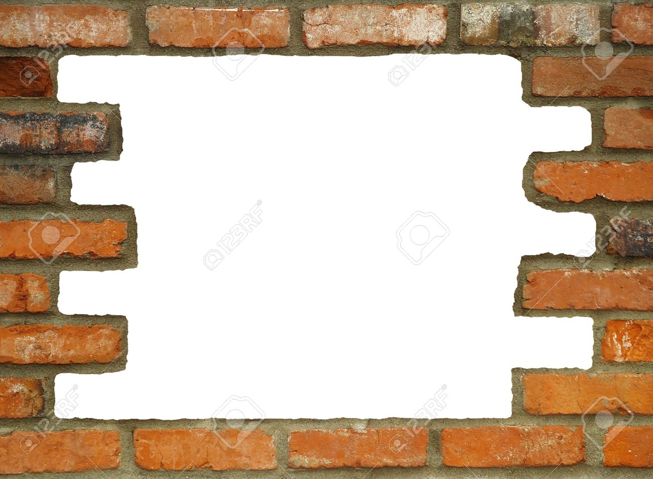 Brick Wall Background/frame With Large White Hole, In Various ...
