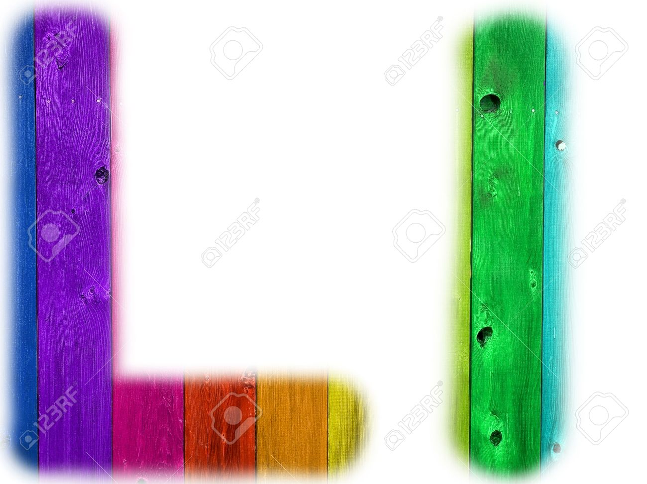 stock photo the letter l with a wooden rainbow background