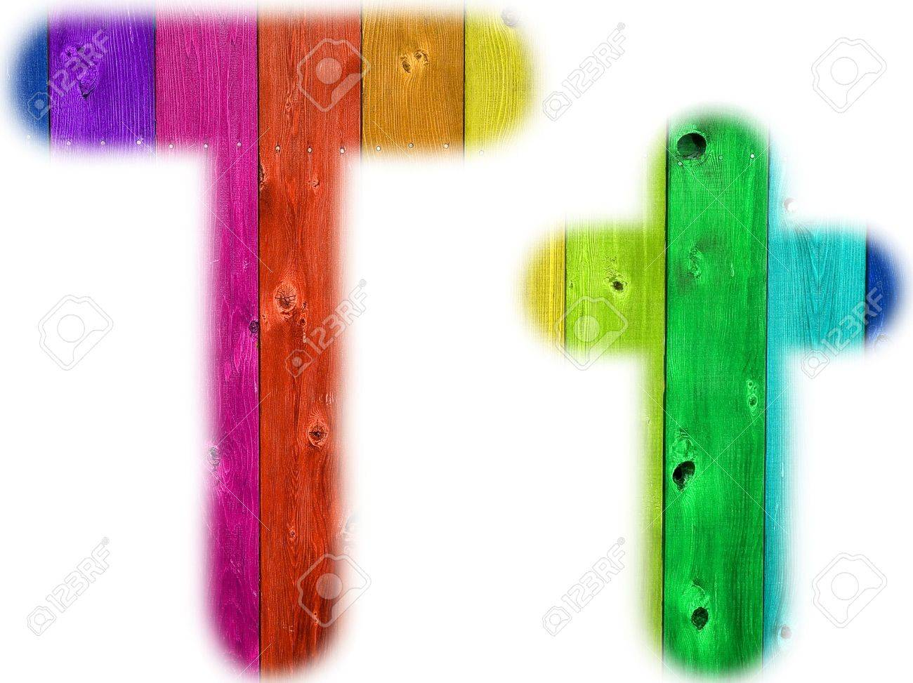 The letter T with a wooden rainbow background Stock Photo - 5339027