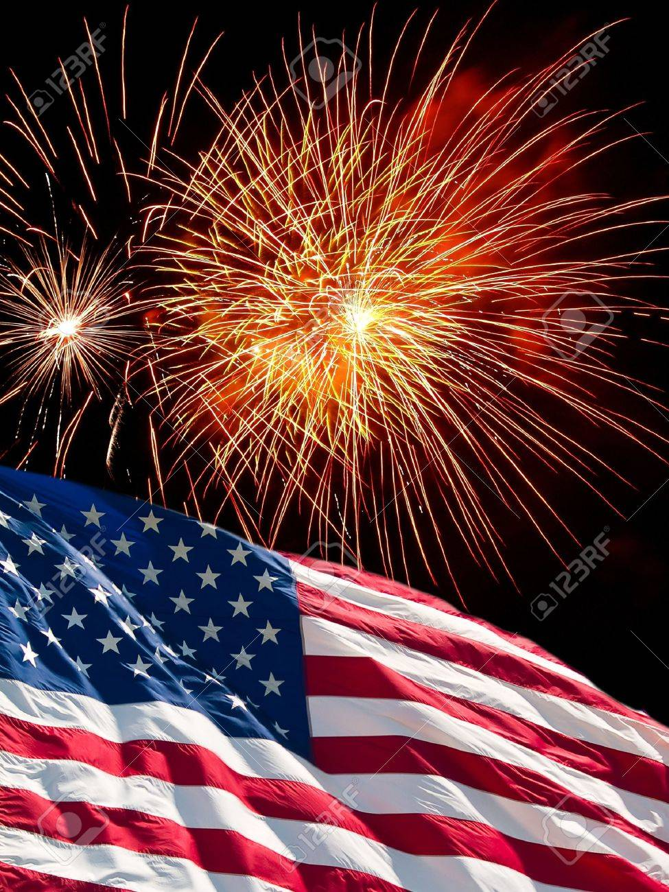 The American Flag and Fireworks from Independence Day Stock Photo - 8549308