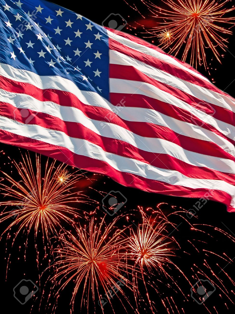 stock photo the american flag and a fireworks display