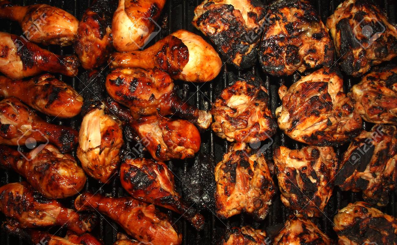 Fresh Grilled Chicken Cooking on the Barbecue Stock Photo - 9815678