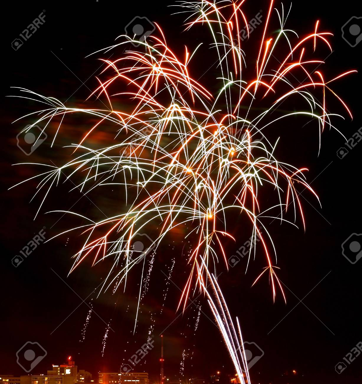 Fireworks Against the Night Sky of a Cityscape Stock Photo - 11075315