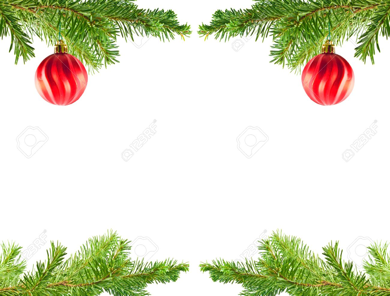Christmas Tree Holiday Ornaments On An Evergreen Branch Frame Stock