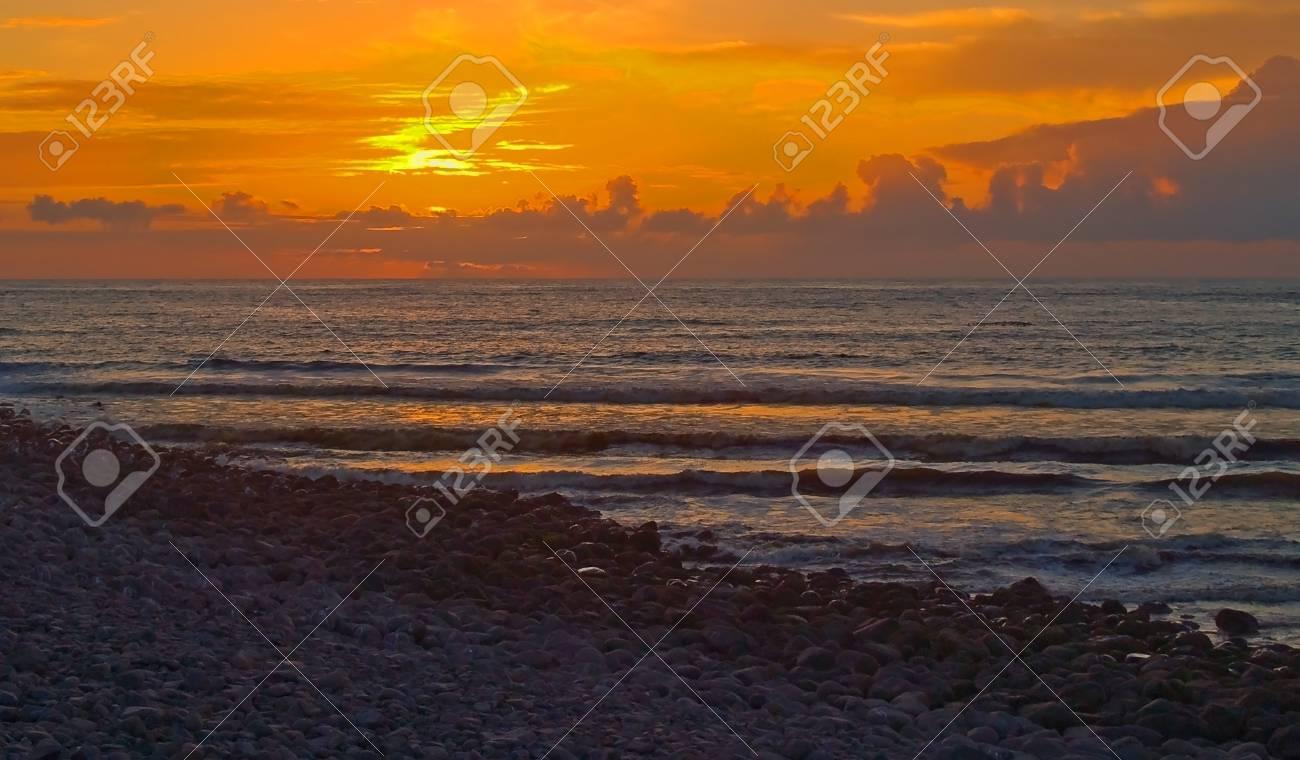 Fiery Sunset at a Rocky Beach on the Oregon Coast Stock Photo - 17245408