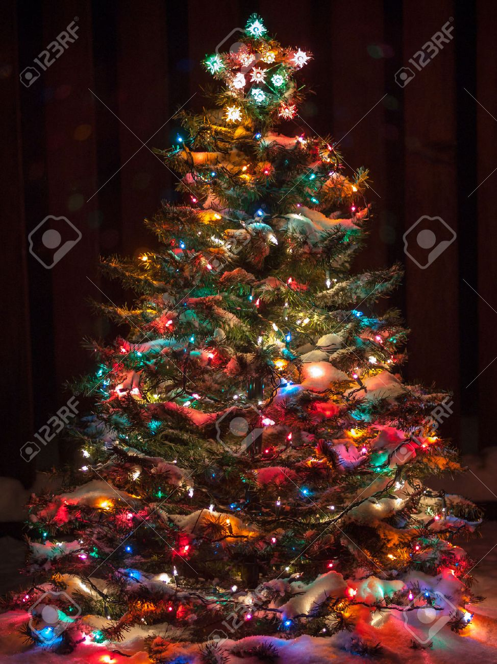 Snow Covered Christmas Tree With Multi Colored Lights Stock Photo