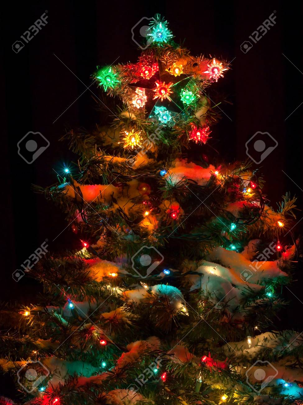 Snow Covered Christmas Tree With Multi Colored Lights At Night Stock