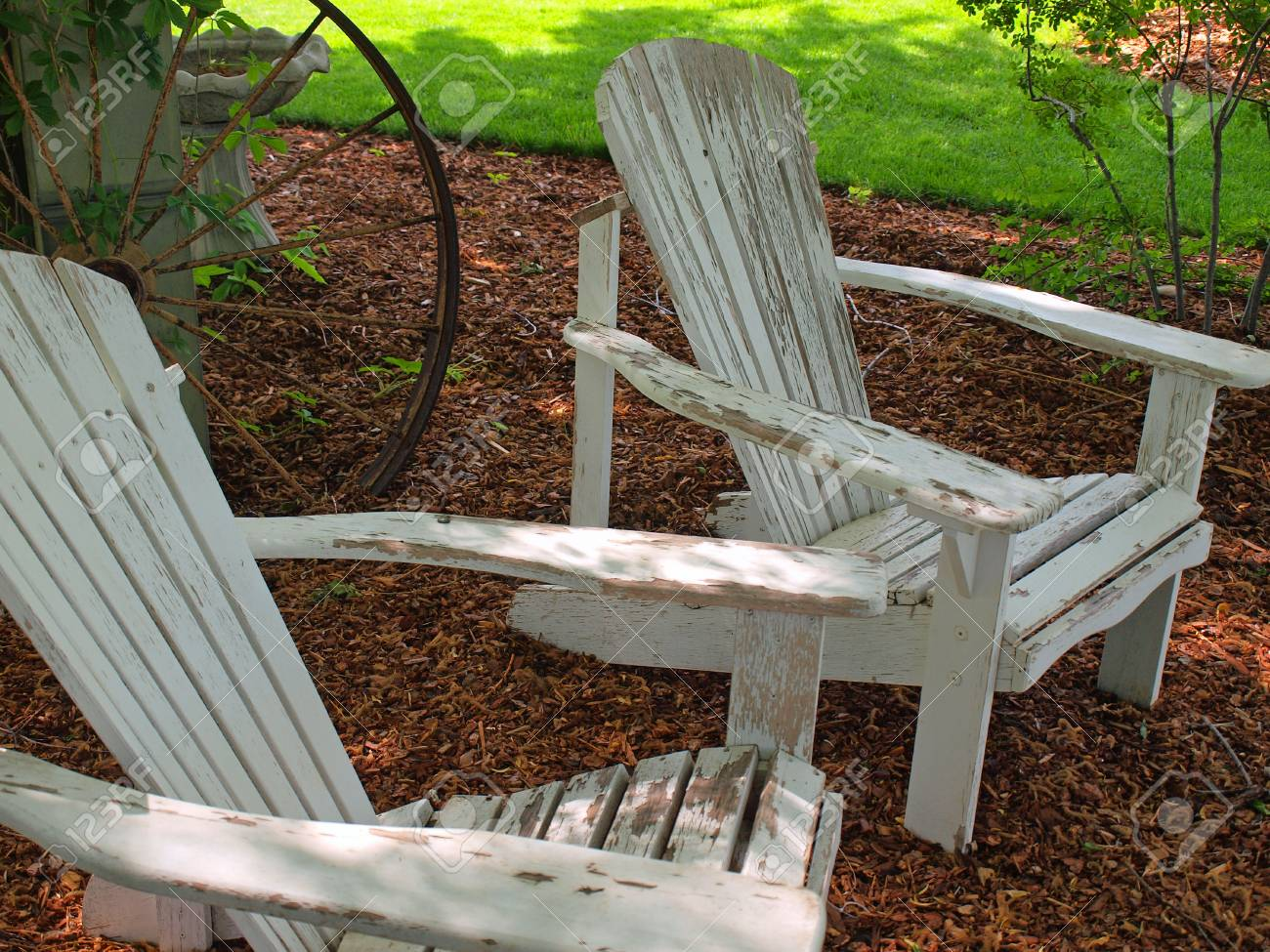Admirable White Wooden Adirondack Chairs Outside In A Yard Bralicious Painted Fabric Chair Ideas Braliciousco