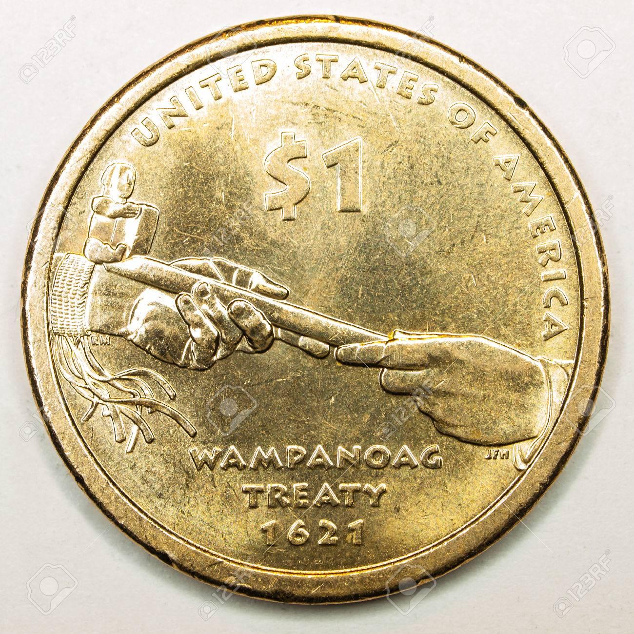 Us Gold Dollar Münze Mit Vertrag Wampanoag Lizenzfreie Fotos Bilder