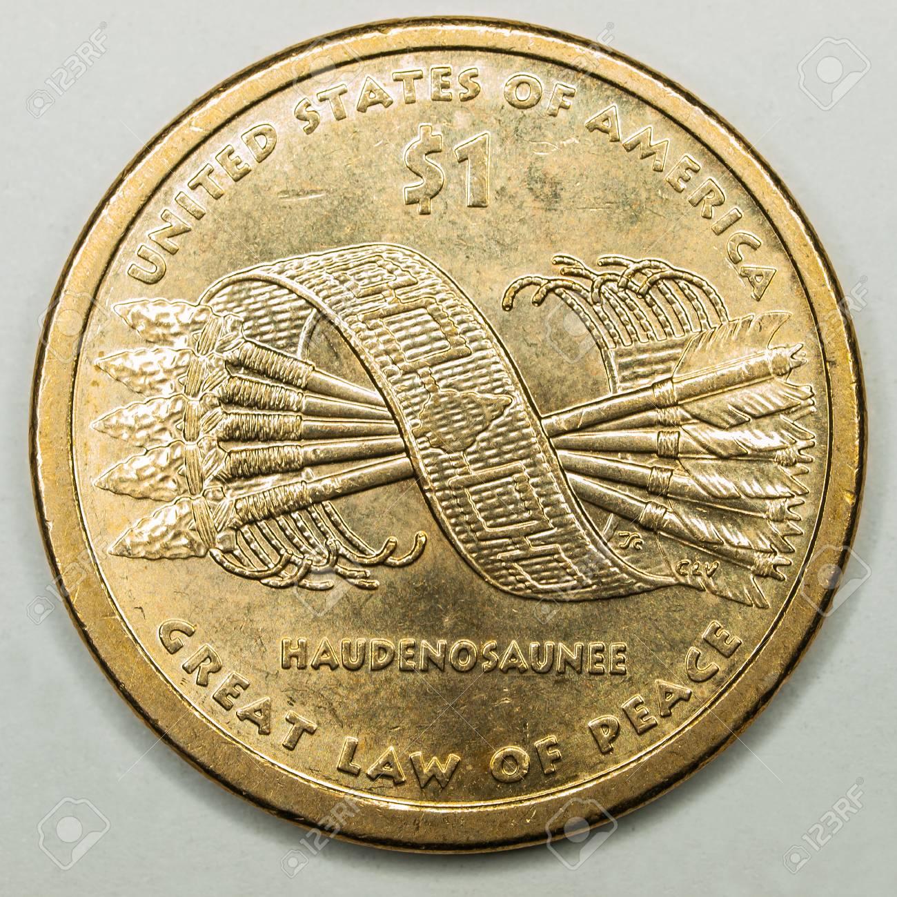 Us Gold Dollar Münze Mit Großen Gesetz Des Friedens Haudenosaunee
