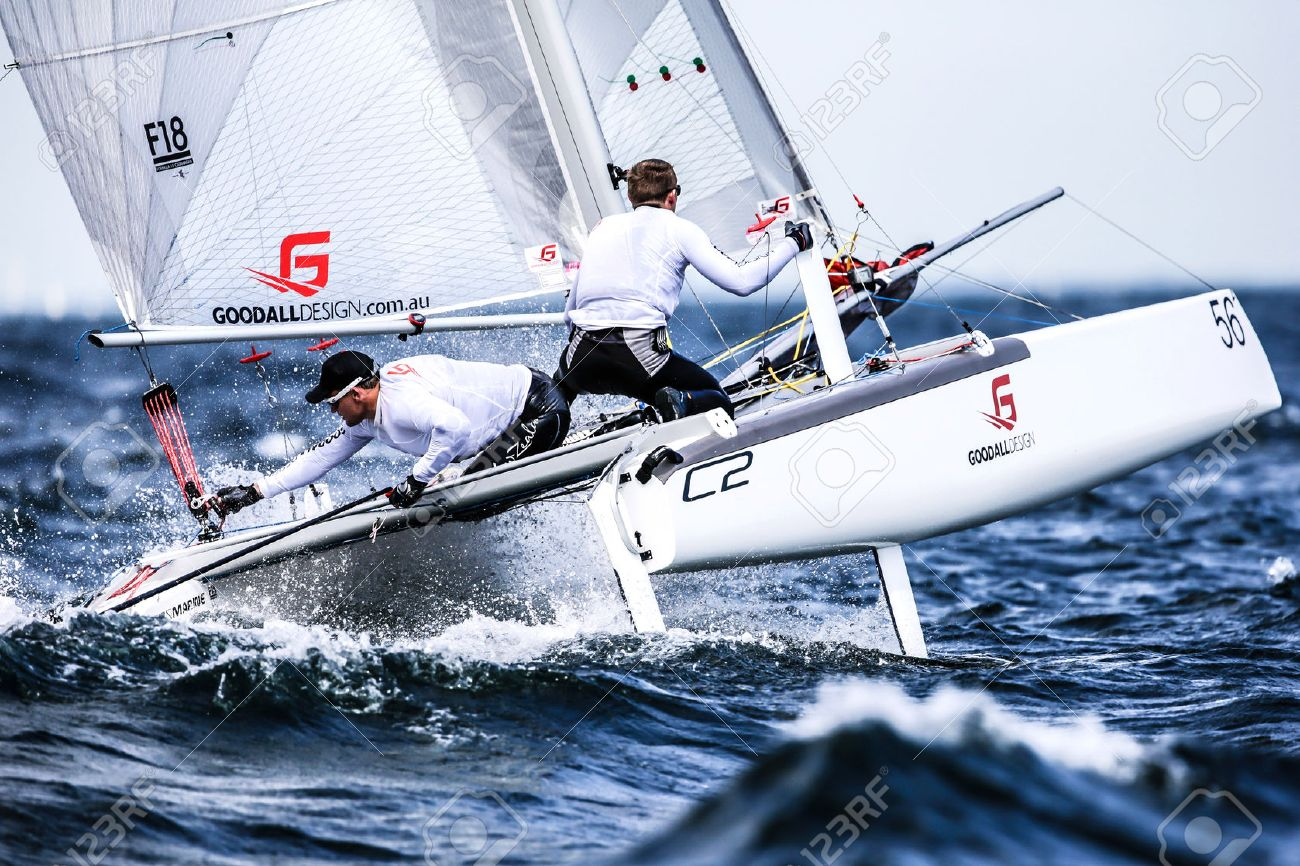 Team is sailing on Formula 18 catamaran race internationally - 58093856