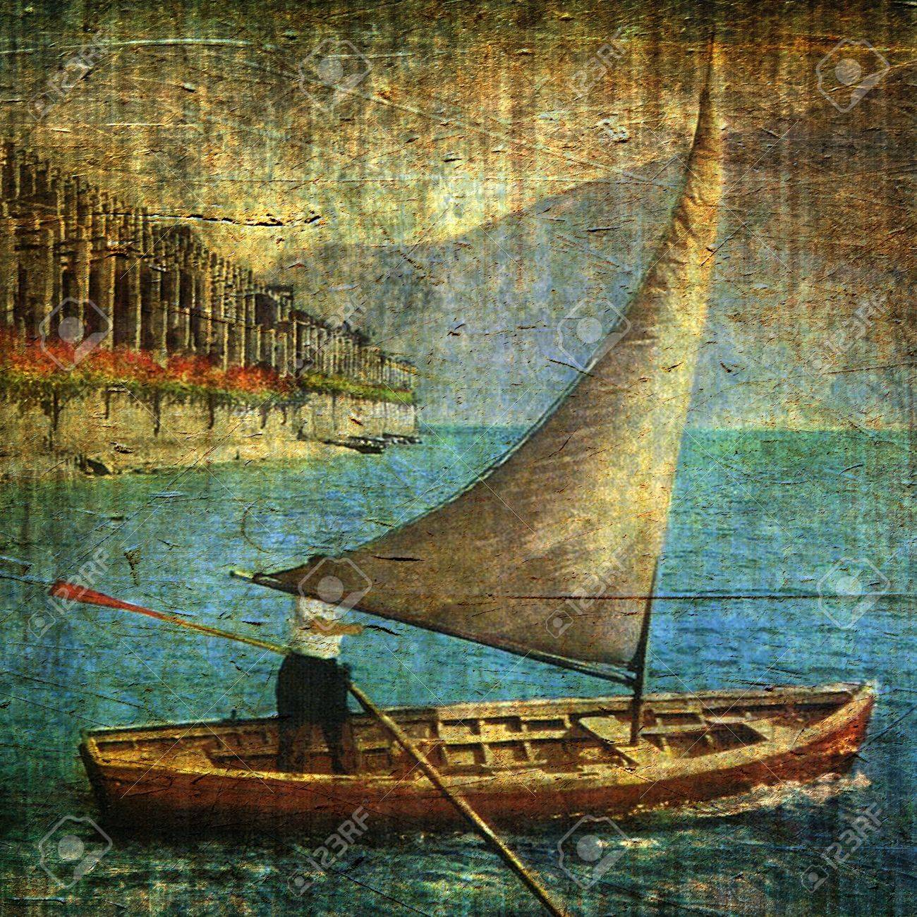 Vintage illustration with sailing ship and grunge background Stock Photo - 9808531